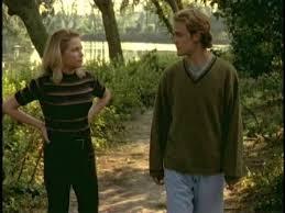 Jen (Michelle Williams) the duck talks to Dawson the Easter Island boy