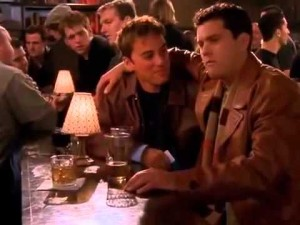 Just two dudes in matching leather hangin' in a gay bar.  Nothin' to see here.