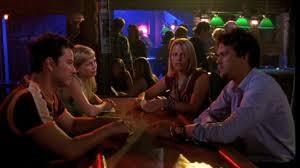 The gang gathers at the bar