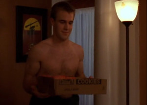 Shirtless Dawson gets some chinese food