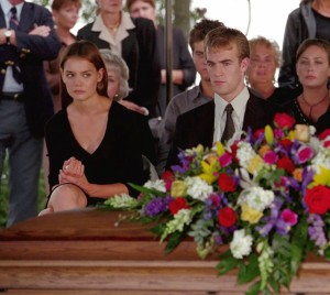Dawson and Joey at Mitch's funeral