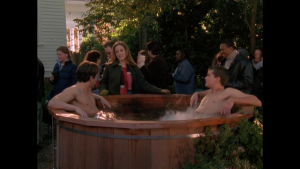 Pacey and some dude soak in a tub.