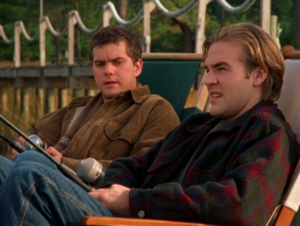 Pacey & Dawson sit on the dock of the bay.